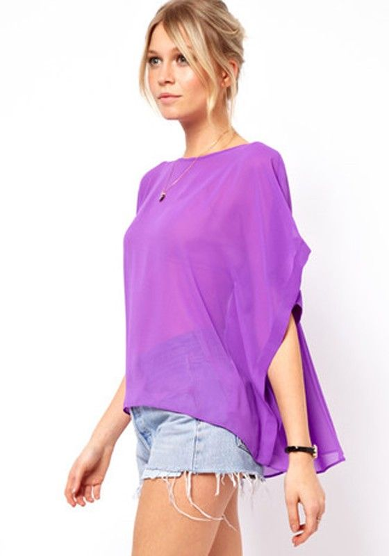 Purple Patchwork Irregular Round Neck Straight Polyester T-Shirt