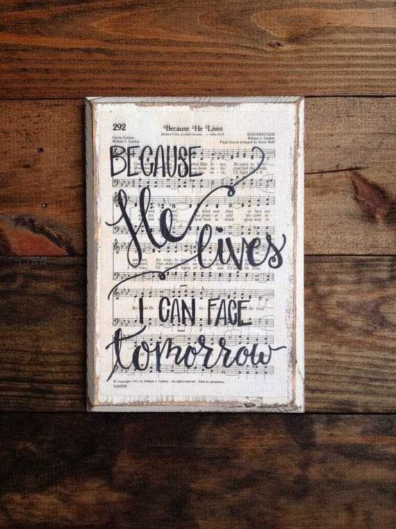 Because He Lives - Hymn Board - hand lettered wood sign