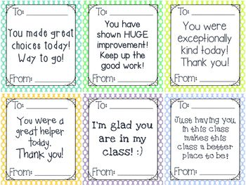 Positive Notes for Students FREEBIE!