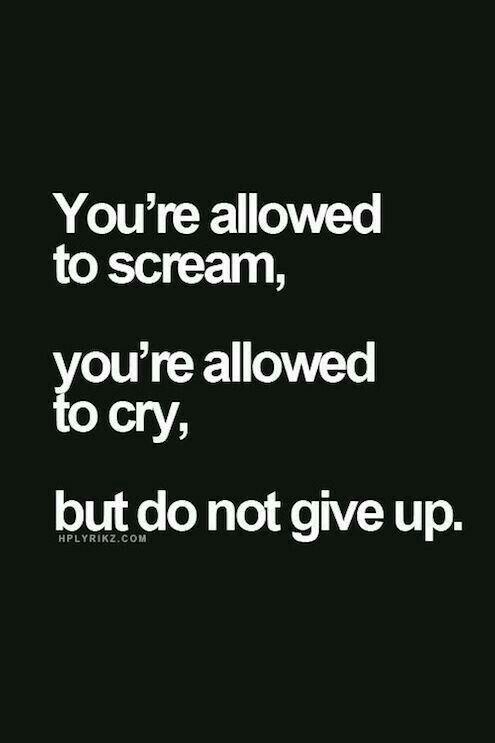 Puedes gritar, puedes llorar pero no rendirte.