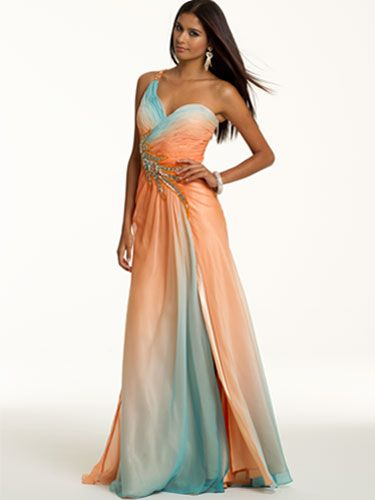 Multicolor, one-shoulder gown