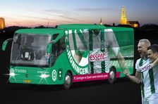 The new colors of the team bus, FC Groningen
