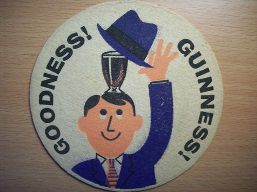 Guinness Vintage Beer Mat - Goodness!