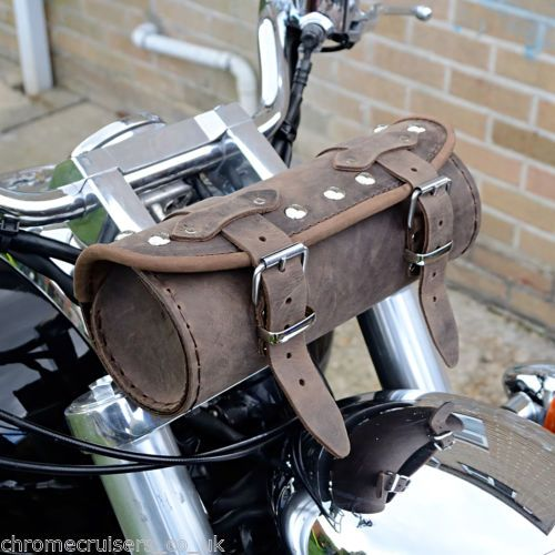 MOTORCYCLE-BROWN-LEATHER-TOOL-ROLL-BAG-HARLEY-DAVIDSON-SOFTAIL-FAT-BOY-DYNA
