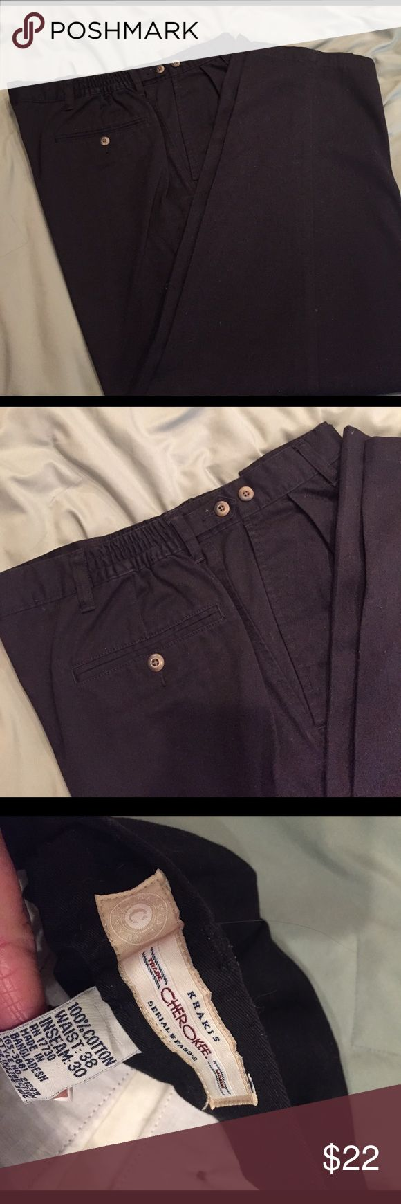 Men's casual pants In great condition black casual pants has elastic on the waist for more comfort Cherokee Pants