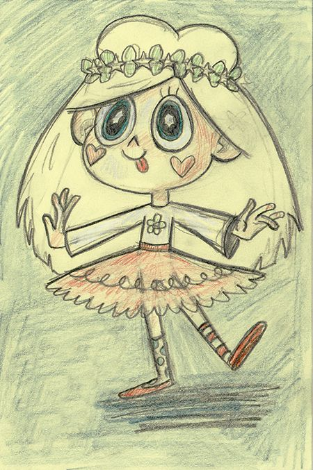 Early drawing of an 8 year old Star Butterfly.