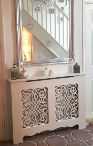 Beautiful Radiator Cover. Handmade in the UK.  Standard and Bespoke Custom Cabinets available.  French Shabby Chic with Baroque Grille.  Gothic Style also available.