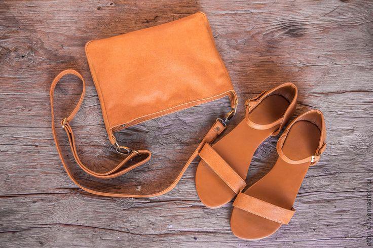Купить Сандалии женские из натуральной кожи Anne - бежевый, сандалии, сандалии из кожи, Кожаная сумка