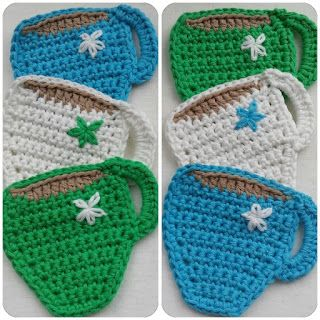 Crochet cup of tea coasters, link to free pattern