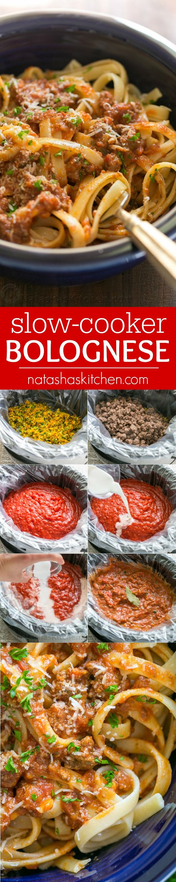 Good bolognese sauce (Italian Ragu) is cooked slowly, puttering away as deep meaty flavors develop. This slow cooker bolognese recipe couldn't be easier!   natashaskitchen.com