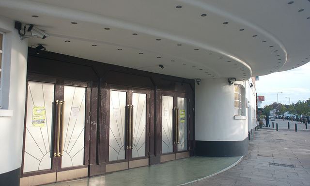 Main Entrance of the former Grosvenor Cinema, Rayners Lane, Middlesex (now The Zoroastrian Centre).