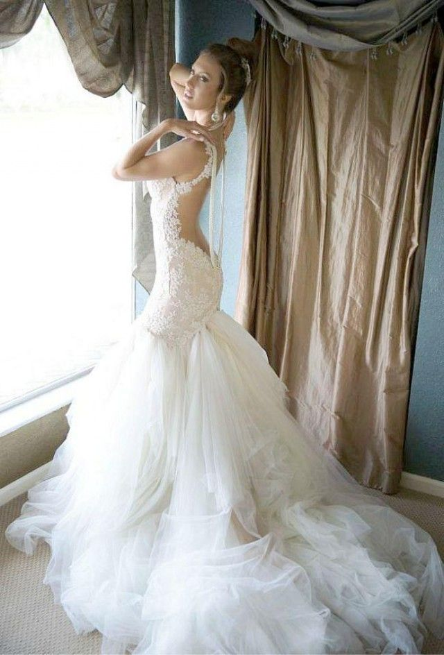 Newest Galia Lahav 2014 Lace Wedding Dresses With Spaghetti Backless Beading Mermaid Court Train Tulle New Sexy Hot Glamorous Bridal Gowns Online with $121.47/Piece on Hjklp88's Store