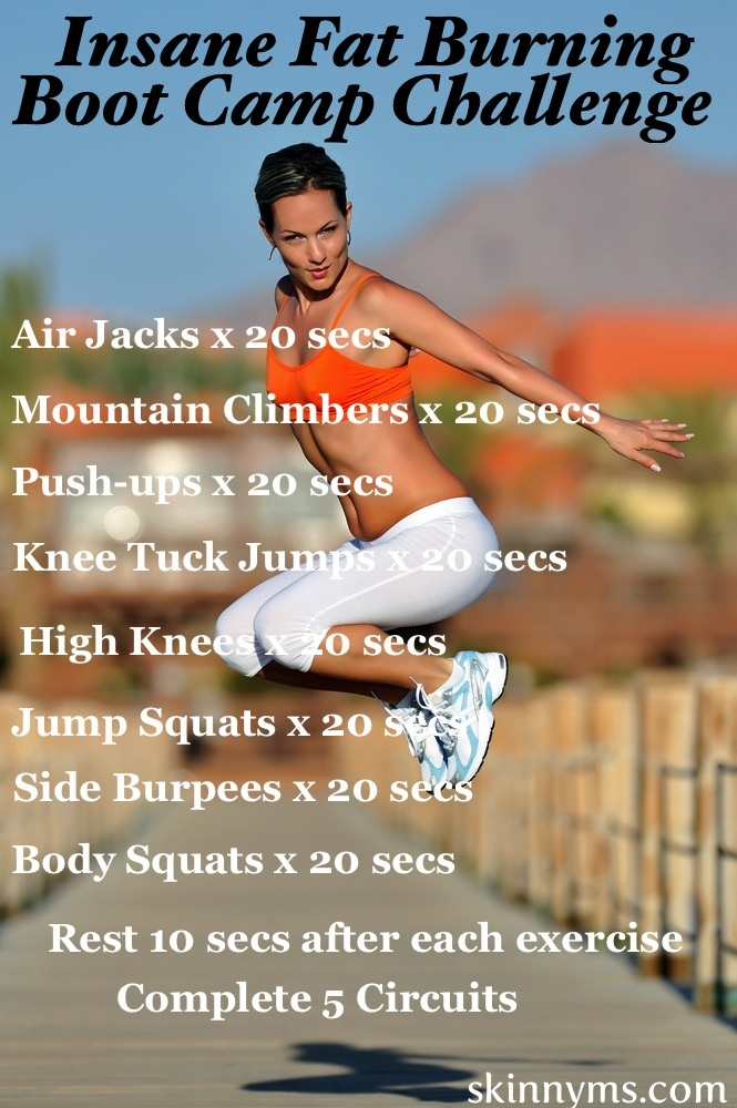 INSANE FAT BURNING BOOT CAMP CHALLENGE - 20 Minutes of High Intensity Interval Training burns fat like crazy! Perform 4 x's weekly for 30 days.