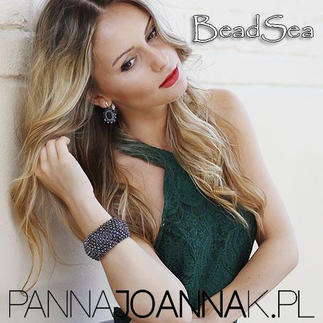 """Bracelet """"Sedna"""" and very elegant earrings """"Elisabeth's"""" made by BeadSea in romantic outfit from www.PannaJoannaK.pl"""