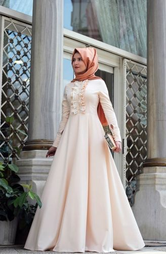 Mevra Mevra - Önü Fırfırlı Elbise Pudra