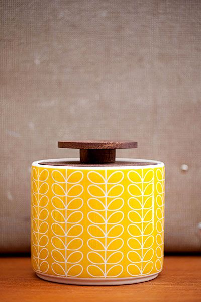 Orla Kiely - Förvaringsburk i porslin 1 liter - Linear Steam Yellow