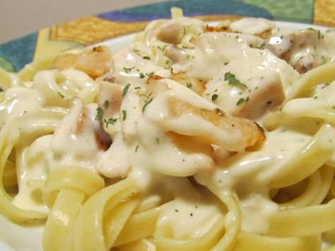 Total Time: 50 minutes Prep Time: 15 minutes Cook Time: 35 minutes  Ingredients: One 16 oz Can of Ragu Alfredo Sauce 10 oz of Angel Hair Pasta Noodles...