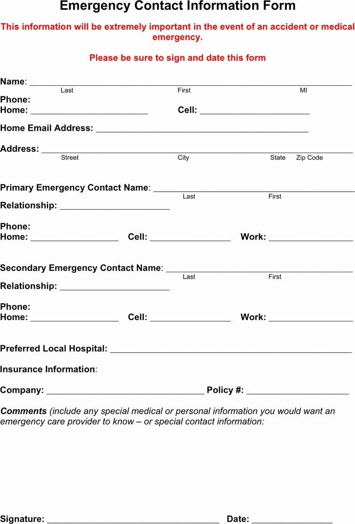 Employee Contact Information Template Lovely Free Emergency Contact Form Pdf 18kb Emergency Contact Form Emergency Contact Emergency