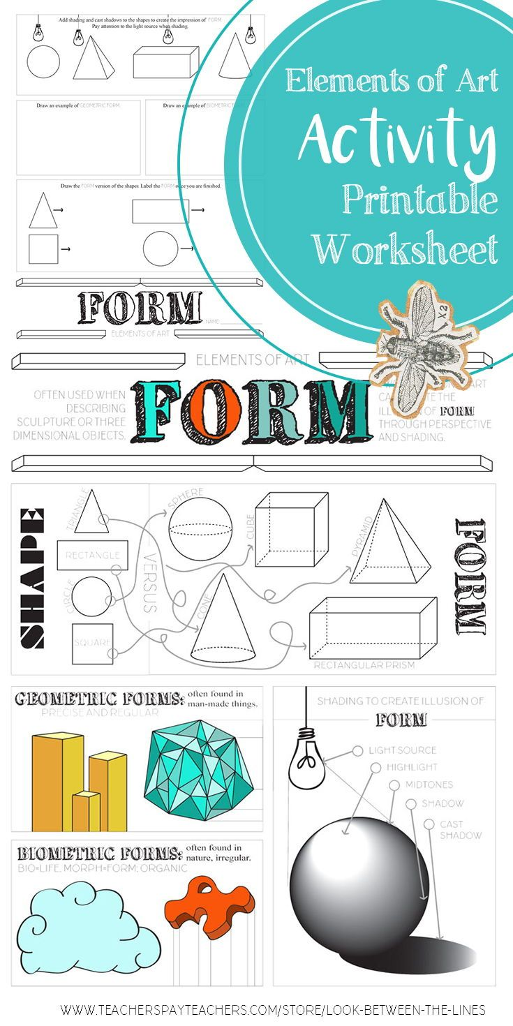 This pritable worksheet covers the element of art, form. There is information on the front about irregular form, organic form, form vs. shape, and creating a sense of form using value. #elementsofart #form #artactivity #art #education