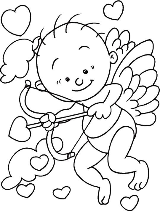 10 best images about cupid on pinterest valentines for Valentine cartoon coloring pages