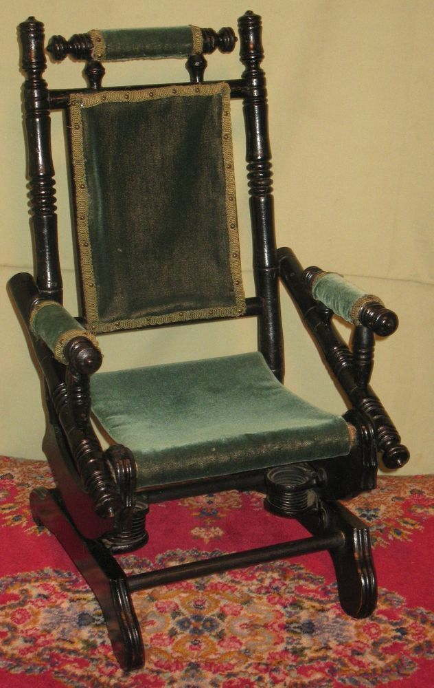 Details about ANTIQUE CHILDS DOLL EBONIZED PLATFORM ROCKER 1875-1880 ...