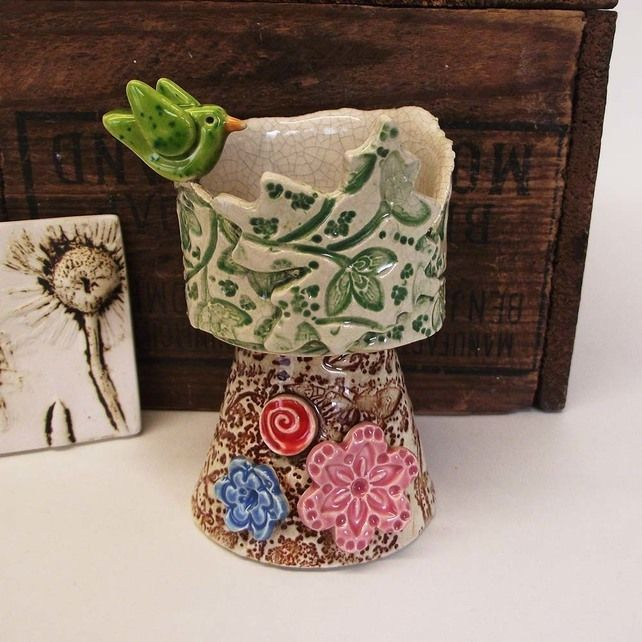 Spring flowers and bird ceramic candle holder pottery dish