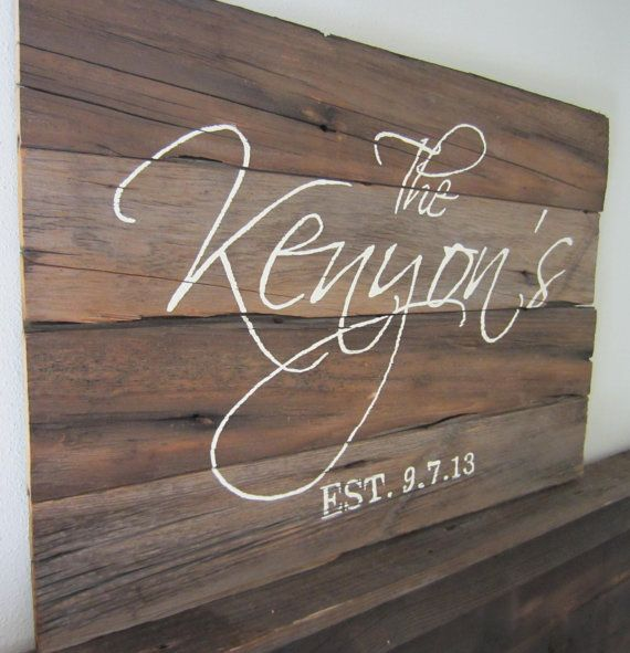 Last Name and Wedding Date Barnwood Sign by MsDsSigns on Etsy