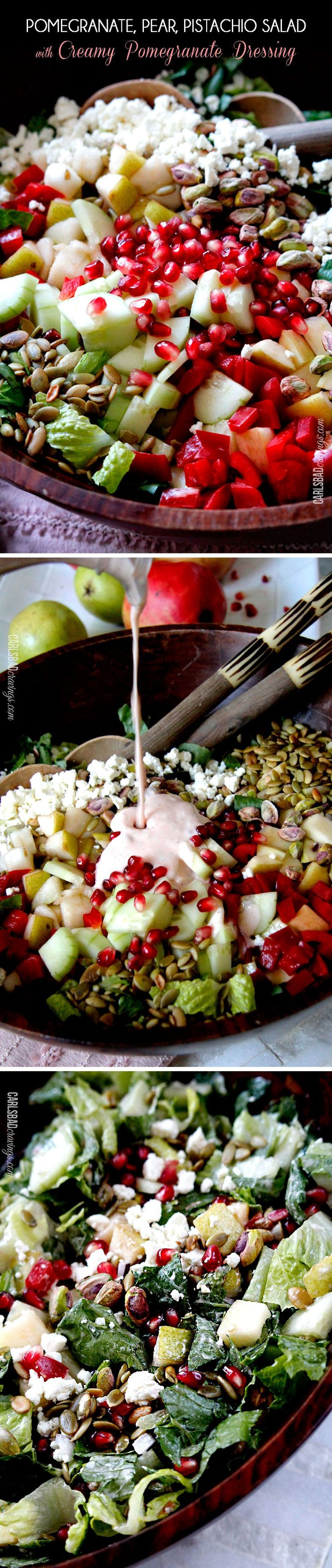 This salad is SO addictingly delicious! Sweet pomegranate arils, pears, apples, crunchy cucumbers and peppers complimented by salty roasted pistachios and pepitas all doused in Creamy Pomegranate Dressing.