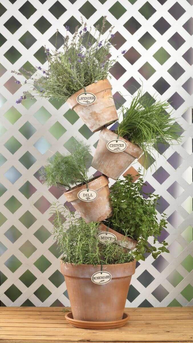 Tiered Clay Pot Herb Garden #diycontainergardeningideas
