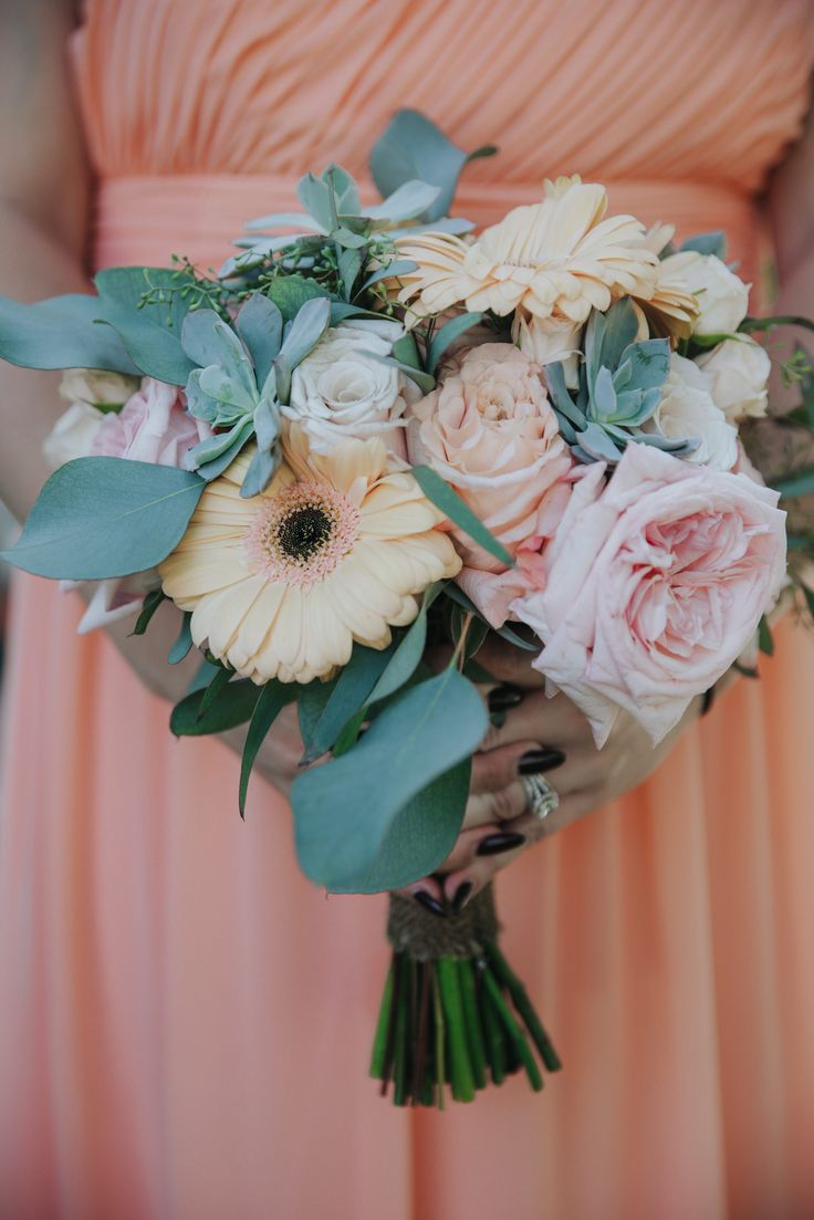Bridesmaid Bouquet. Gerbera Daises, Blush Roses, Babies Breath, Succulents, and Wax Flower. Jenny Smith & Co.