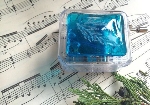 Music Box, Turquoise Music Box, Music from Frozen, Disney Music Box, Wind Up Music Box, Collectible Music Box, Acrylic Music Box, Childs toy by thejeremiahtreeglass. Explore more products on http://thejeremiahtreeglass.etsy.com
