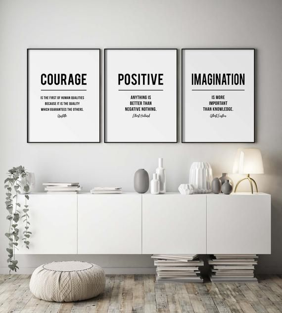 Office Decor Motivational Quotes Wall Art Set Of 3 Large Prints Wall Art With Positive Quote From Aristotle And Einstein In 2021 Work Office Decor Wall Art Quotes Office Decor
