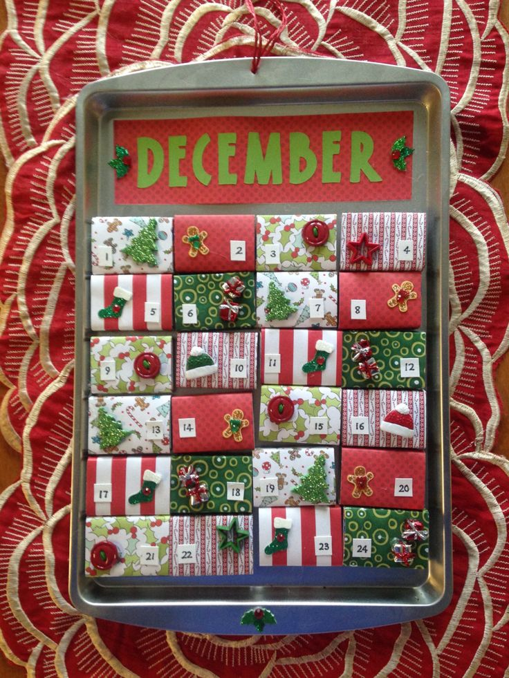 Matchbox Magnetic Cookie Sheet Advent Calendar by TwoCatsCalendars on Etsy https://www.etsy.com/listing/474301070/matchbox-magnetic-cookie-sheet-advent