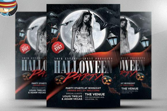 Black Halloween Club Flyer Template by FlyerHeroes on @creativemarket