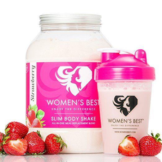 WOMEN'S BEST Slim Body Shake | Der Mahlzeitersatz zum Abnehmen mit Reis-Protein, Erbsen-Protein, Soja-Protein & Superfoods | Ohne JoJo-Effekt mit Grüner-Kaffee & Grüner-Tee | 40 Portionen | 1200 g Pulver ERDBEERE