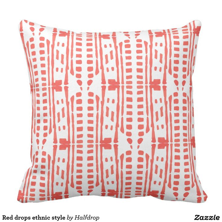 Red drops ethnic style pillow