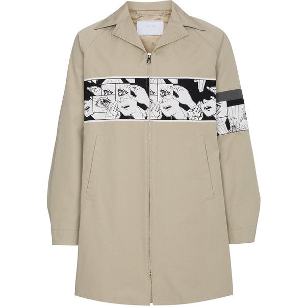 Prada comic band mac jacket (€1.190) ❤ liked on Polyvore featuring men's fashion, men's clothing, men's outerwear, men's jackets, prada mens jacket and mens beige jacket