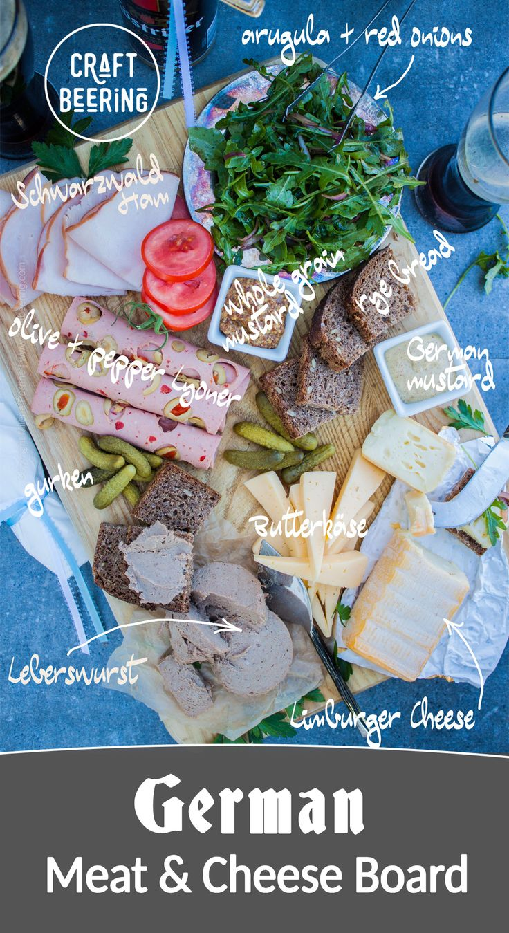 German Meat and Cheese Board via @CraftBeering. This charcuterie platter includes quintessential German cheeses and German meats. And rye bread, and mustard, and of course pickled gurken. Pair with Pilsners and other German lagers. #beerandcheese #oktoberfest #germanfood