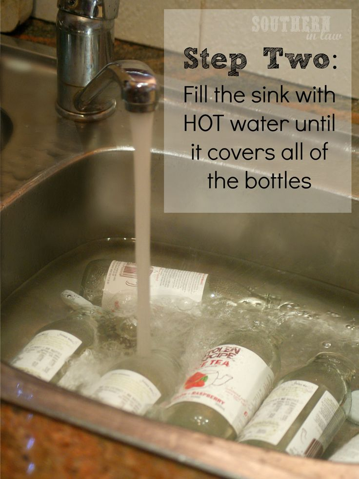 Remove sticky labels with vinegar