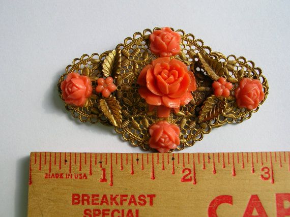 Antique brass filigree coral celluloid rose by 2VintageGypsies, $29.00