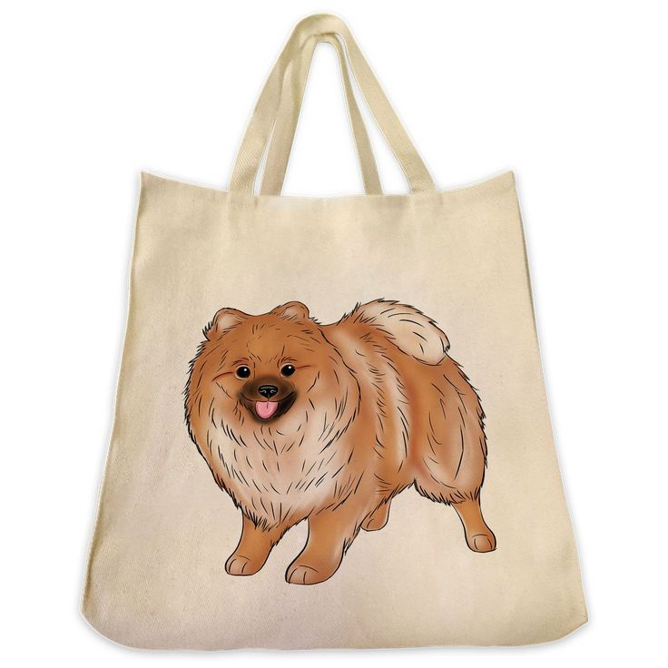 Pomeranian Color Full Body Design Extra Large Eco Friendly Reusable Cotton Canvas Tote Bag