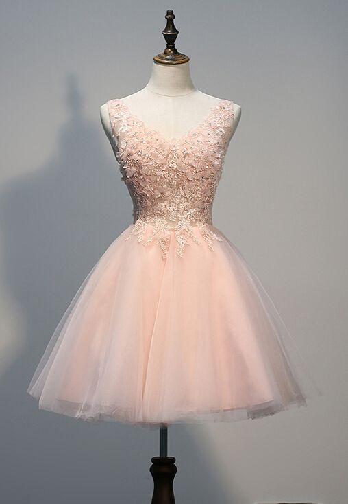 Charming Homecoming Dress,Organza Homecoming Dress,Appliques Homecoming Dress,V-Neck Homecoming Dress