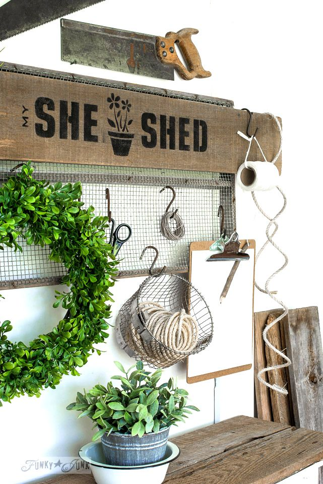 She Shed soil sifter gardening station sign with Funky Junk's Old Sign Stencils | funkyjunkinteriors.net