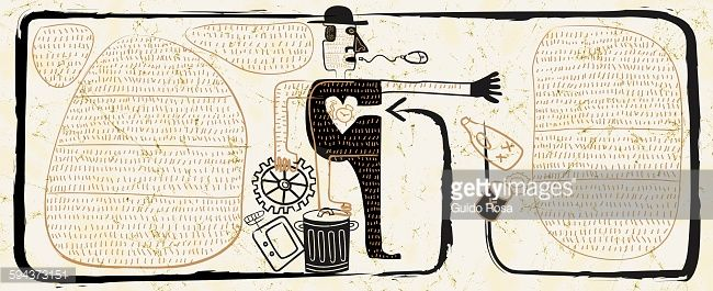 Stock Illustration : Man with committed to recycling waste