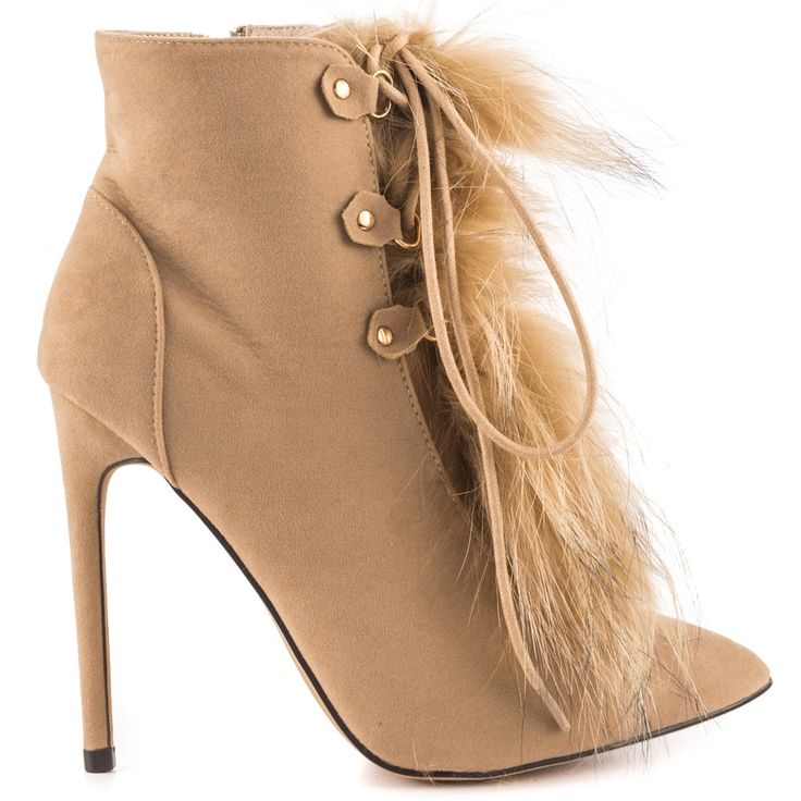 102.60$  Watch now - http://aliux2.worldwells.pw/go.php?t=32762646137 - Khaki Ankle High Winter Boots Women Stilettos Pointed Toe High Heels Short Plush Fashion Shoes Ladies Shoes Woman 2017 New