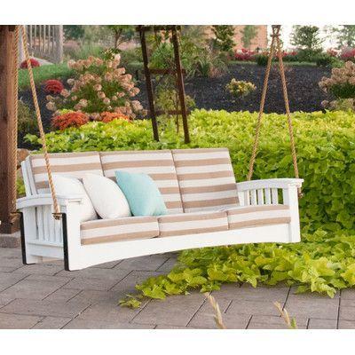 Hershy Way Days End Porch Swing Cushion Fabric: Foster Metallic Stripe,  Finish: Chocolate