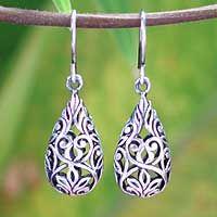 Sterling silver dangle earrings, 'Forest Tear' by NOVICA