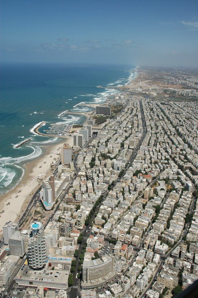 Ariel view of the city of Tel Aviv.  One of the first views of Israel as you fly into Ben Gurion Airport.