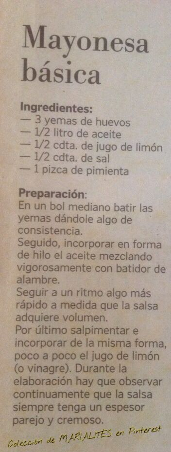 Recetas de cocina. Salsas. Mayonesa básica | https://lomejordelaweb.es/