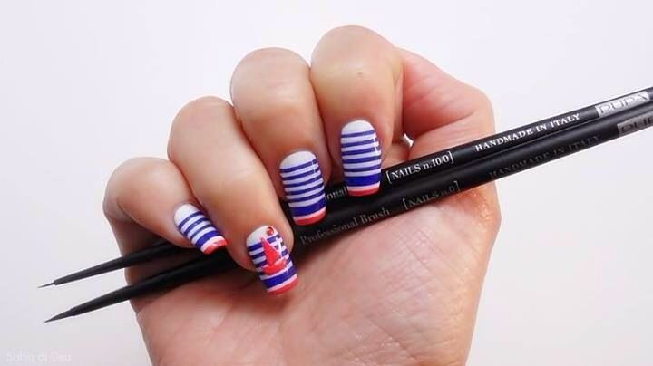 Nailart Navy Chic collection  Spring makeup Spring nail style By @Soffio Di Bellezza di Dea ...